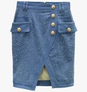 Frosted Washed Metal Buckle Irregular Split Hip Skirt