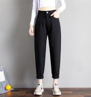 Spring Korean Style Loose Tight Waist Straight Leg Harem Pants Women