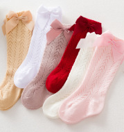Infant Baby Loose Bow Stockings Hole Socks