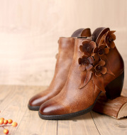 Women's Original Handmade Flower Shining Boots Mid-Heel Short Boots