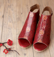 Flower Hollow Retro Breathable Ethnic Style Thick Heel Sandals Women Sandals Summer