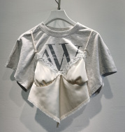 Letter Lace Stitching Fake Two-Piece Top With Short Sleeves