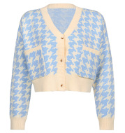 Woolen Top Houndstooth Long Sleeve Jacket Loose All-match Knit Cardigan