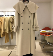 Lapel Double-Breasted Loose Solid Color Long Woolen Coat Women