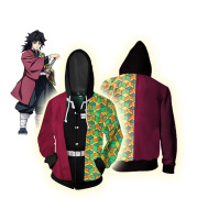 Fashion Simple 3D Sweater Anime Zipper Hood