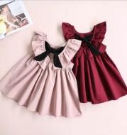 New Children's Clothing Baby Children Girls Bow Pleated Halter Skirt Princess Dress