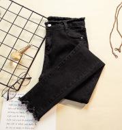 High Waist Elastic Trousers Jeans Women Ladies Pants