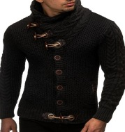 Knitted Jacket With High Collar Buttons