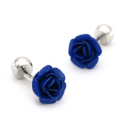French All-match Blue And Red Rose Cufflinks