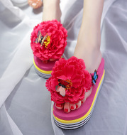 Cute Flowers Fashion Outer Wear Platform Flip Flops
