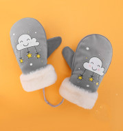 Boys and Girls Cartoon Cute Warm and Velvet Pupil Lanyard Mittens