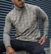 Men's Slim Pullover Long Sleeve T-Shirt High Neck Striped Base Shirt