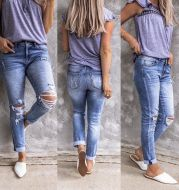 Ripped Retro Full-Jet Stretch Small Straight Jeans