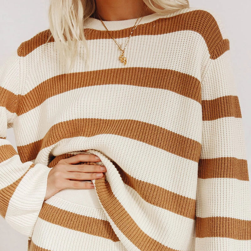 Knitted Stripe Long Sleeve Sweater