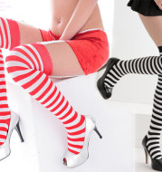 Red Striped Lace Clothing Accessory High Socks