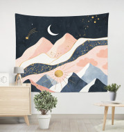Home Furnishing Pink Mountain Peak Printed Tapestry European and American Decoration