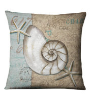 Retro Conch Shell Marine Animal Linen Pillowcase