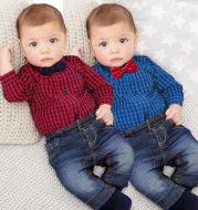 Boy Gentleman Plaid Suit Baby One-Piece Suit Bag Fart Clothes Jeans Kids Suit