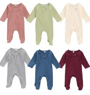 Children's Long-Sleeved Jumpsuit With Round Neck And Buckles