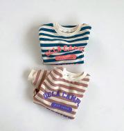 Round neck hoodie baby long sleeves striped monogram jumpsuit