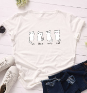 Loose Round Neck Short-Sleeved Cotton Blouse