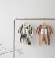 Baby striped cartoon paste jumpsuit