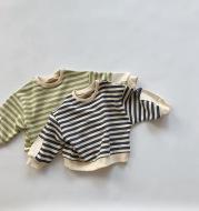 Children's striped hoodie wool snare jumper