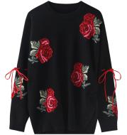 New Sweater Design Sense Female Niche Red Flowers