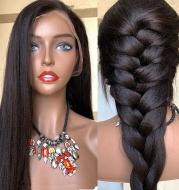 Wig Mid-Point Black Long Straight Hair High Temperature Silk Fluffy Wig