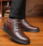 Casual Men's Cotton Shoes With Wool Warm High-Top Shoes