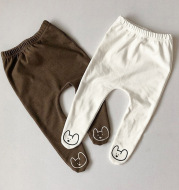 Autumn and winter baby tights with plush and thickening
