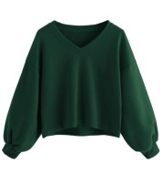 Fashion Women's Solid Color Casual Drop Shoulder Lantern Sleeve Pullover