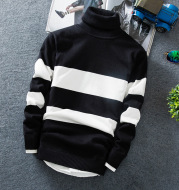 Long-sleeved Colorblock Striped Turtleneck Sweater