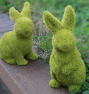 Flocking Artificial Plant Grass Animal Easter Rabbit Ornament