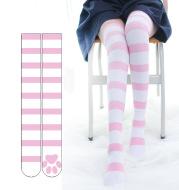Cute Blue And White Striped Print Long High Socks