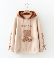 Forest Cute Plus Velvet Sweater With Bear Print