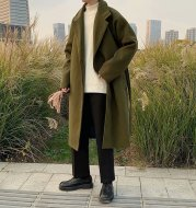 Autumn And winter Korean Style Woolen Coat Men's Mid-length