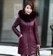 Middle-Aged And Elderly Women's Leather Casual Mid-Length Cotton Jacket