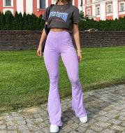 Fashionable Knitted High Waist Bag Hip Casual Micro-la Trousers Women