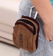 Men's Portable Retro Canvas Belt Bag With Hook