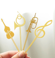8 Pieces Of Exquisite Note Musical Instrument Bookmark Metal Gilded Lanyard