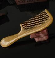 Round Handle Massage Scalp Authentic Green Sandalwood Comb