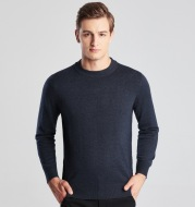 Men's Long Sleeve Solid Color Round Neck Knitted Sweater