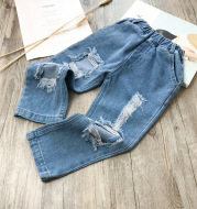 Small And Medium-sized Children's Ripped Loose Jeans