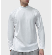 Men's Casual Half-High Collar Mid-Neck Long-Sleeved t-Shirt