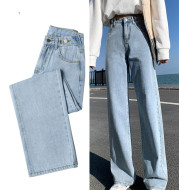 Women's High-Waisted Jeans Straight Loose, Tall And Thin