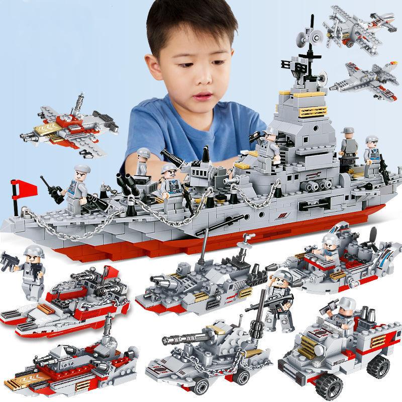 Military Warship Navy Aircraft Army Figures Carrier Military Battleship Building  Blocks Educational Toys (800+pcs)