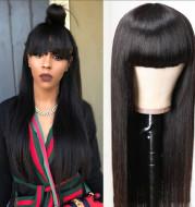 Qi Liuhai Black Long Straight Hair High Temperature Wire Full Wig