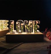 Eternal Flower USB Power LED Night Light LOVE Letter LED Dried Floral Rose Lamp
