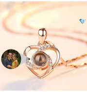 S925 Silver Romantic Colorful Photo Projection Necklace Heart Shaped Pendant Necklace